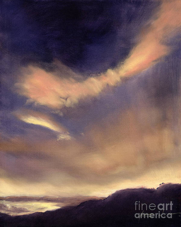 Cloud; Formation; Sunset; Dusk; Orange Sky; Atmospheric; Clouds; Cloudscape Art Print featuring the painting Butterfly Clouds by Antonia Myatt