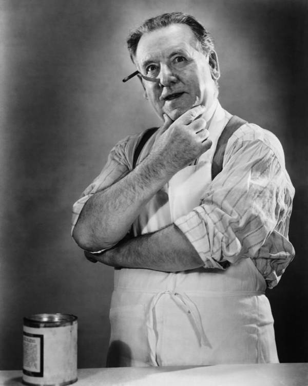 50-54 Years Art Print featuring the photograph Carpenter Posing In Studio, (b&w) by George Marks