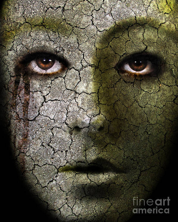 Face Art Print featuring the photograph Creepy Cracked Face With Tears by Jill Battaglia