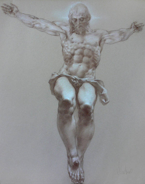 Symbolism Print featuring the drawing Crucifixion by Valeriy Mavlo