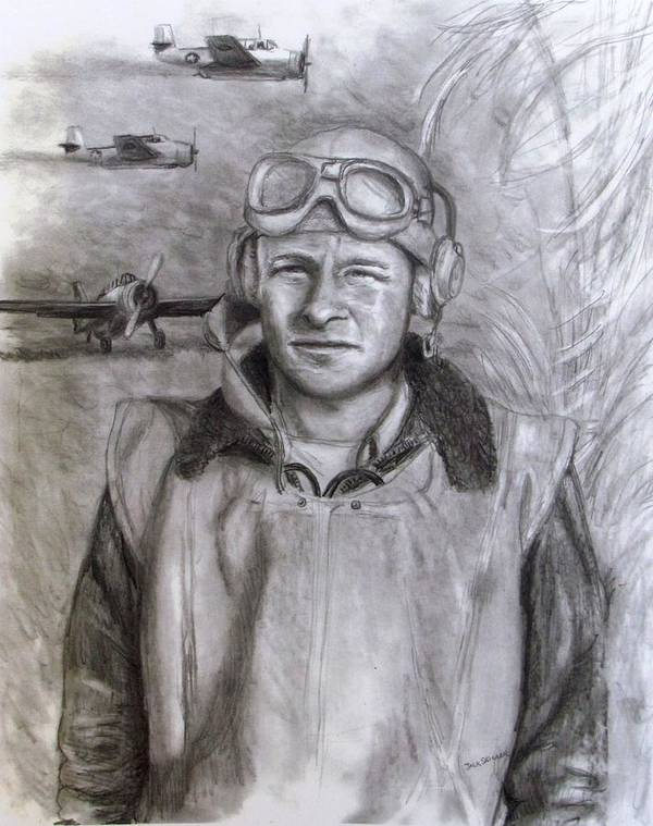 Us Navy Art Print featuring the drawing Dad Ww2 by Jack Skinner