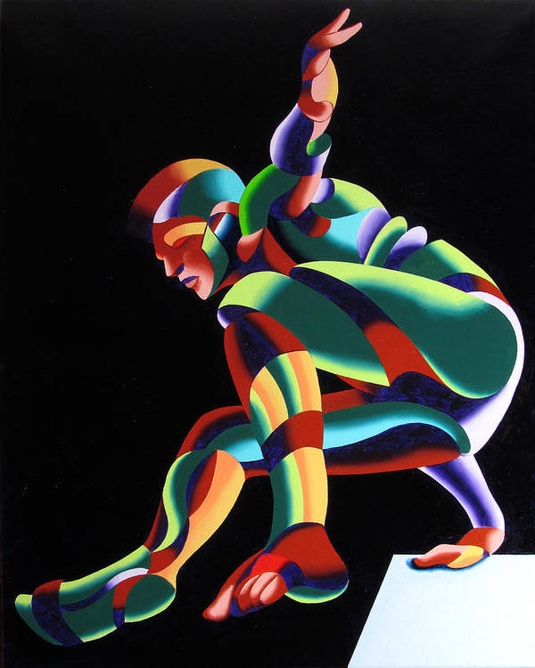 Abstract Art Print featuring the painting Dave 25-03 - Abstract Geometric Figurative Oil Painting by Mark Webster