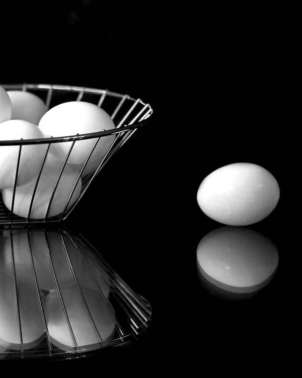 Eggs Art Print featuring the photograph Eggs In Black And White by Betty Eich