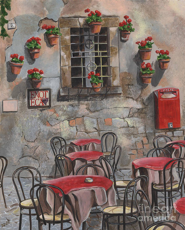 Cafe Art Print featuring the painting Enot Eca by Debbie DeWitt