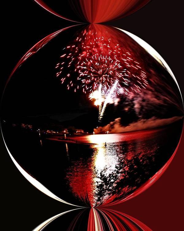 Fireworks Art Print featuring the photograph Fireball Lake by Don Mann
