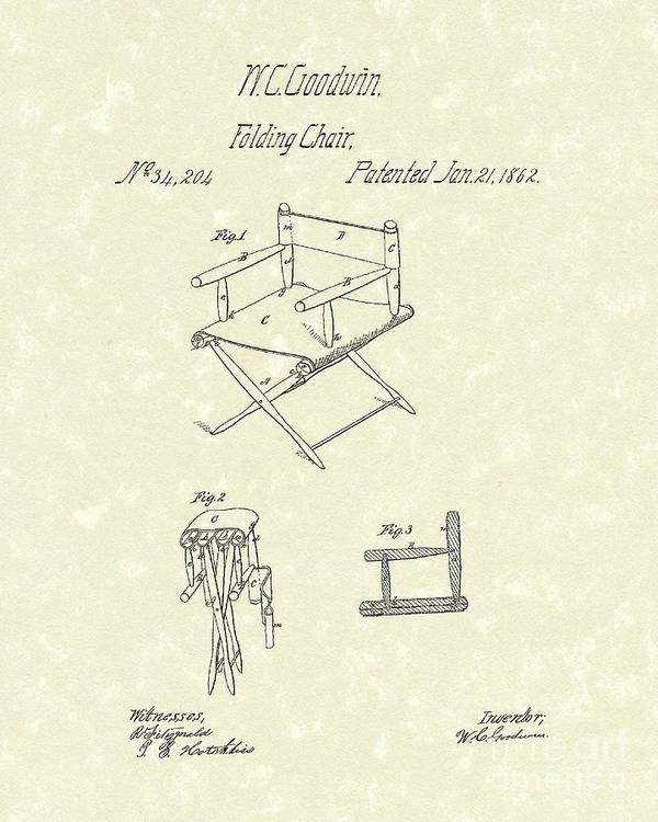 Goodwin Art Print featuring the drawing Folding Chair 1862 Patent Art by Prior Art Design