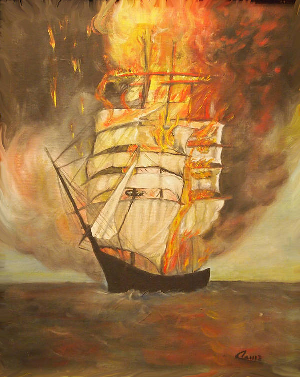 Fire Art Print featuring the painting Fuego Al Mar by Veronica Zimmerman