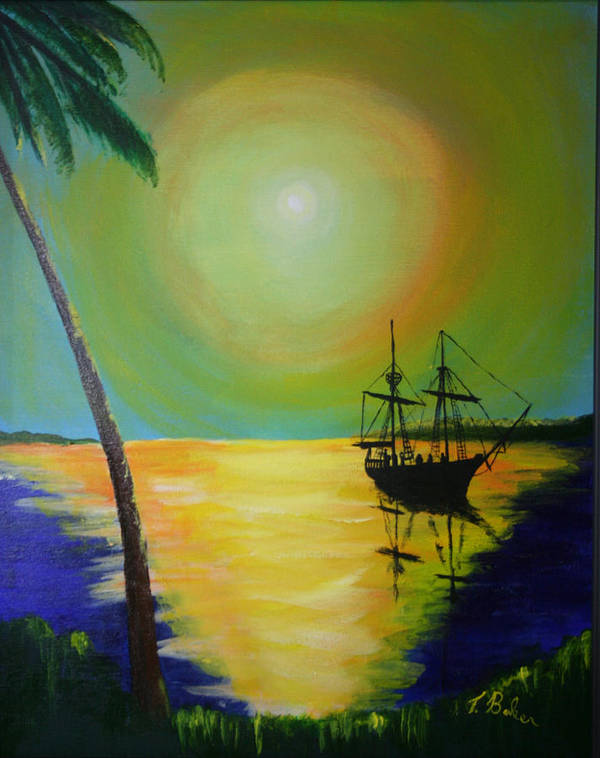 Boat Art Print featuring the painting Golden Anchorage by Tony Baker