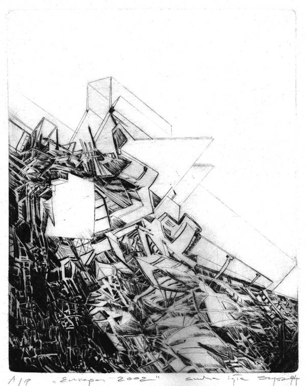 Abstract Print featuring the drawing Graphics Europa 2014 by Waldemar Szysz