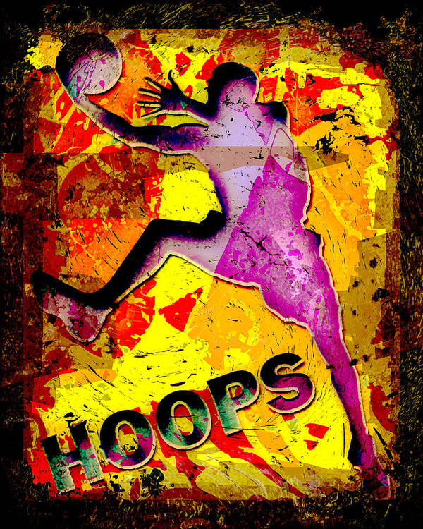 Hoops Art Print featuring the photograph Hoops Basketball Player Abstract by David G Paul