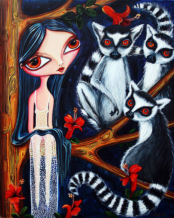 Girl Art Print featuring the painting Jane And The Lemurs by Leanne Wilkes