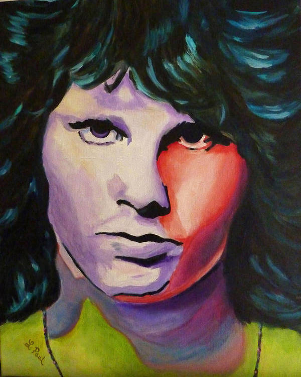 Jim Morrison Art Print featuring the painting Jim Morrison by Lesley Paul
