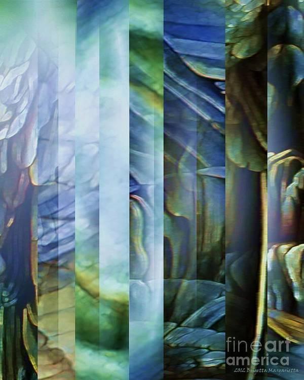 Blue Art Print featuring the digital art Journey Inward 1 by Brigetta Margarietta