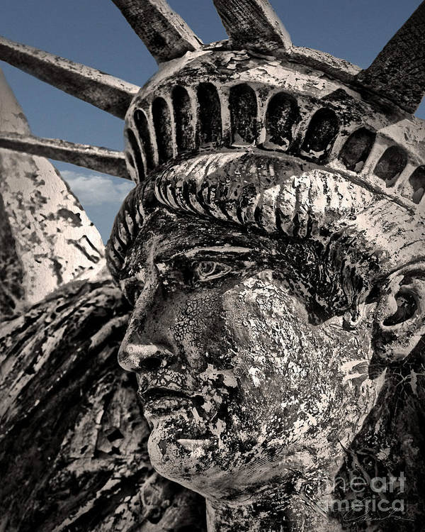Statue Of Liberty Canvas Prints Postcards Art Print featuring the photograph Lady Liberty by Danuta Bennett