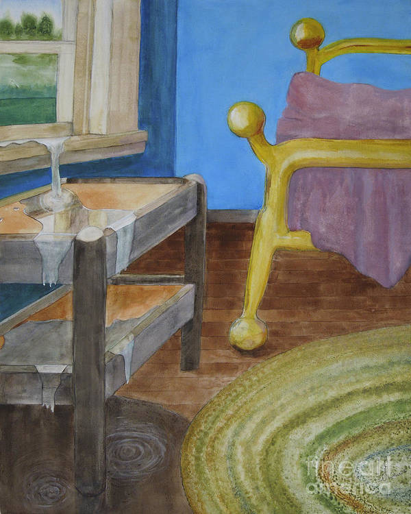 Brass Bed Art Print featuring the painting Life Enters The Bedroom by Will Lewis