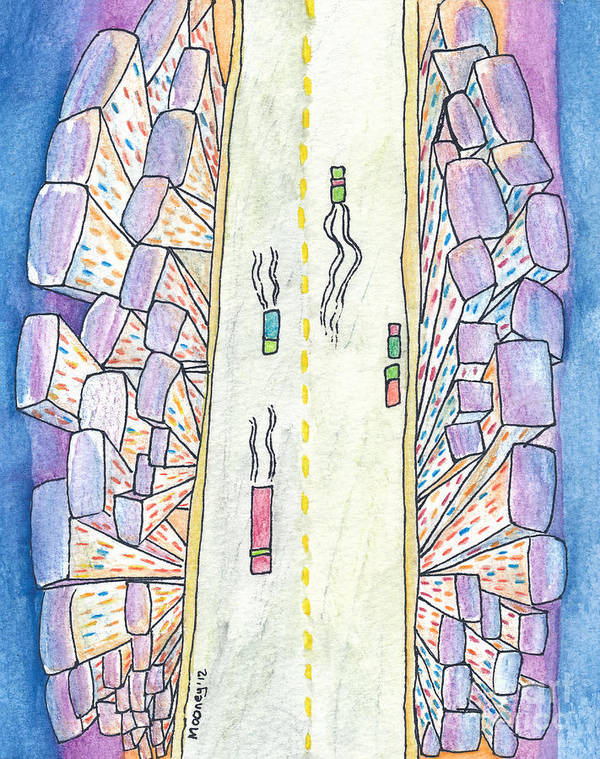 Watercolor Drawing On Watercolor Paper Art Print featuring the drawing Lights Of The Night 2 by Michael Mooney