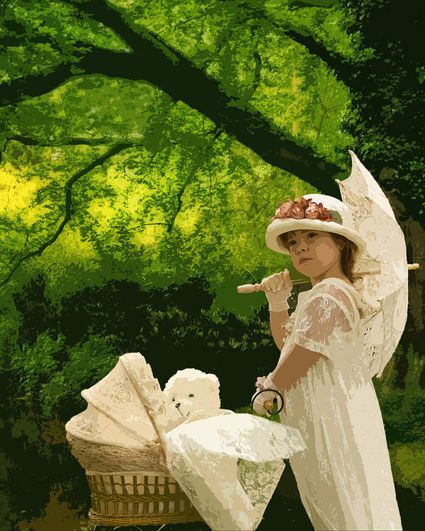 Art Print featuring the photograph Little Girl Yesteryear by Trudy Wilkerson