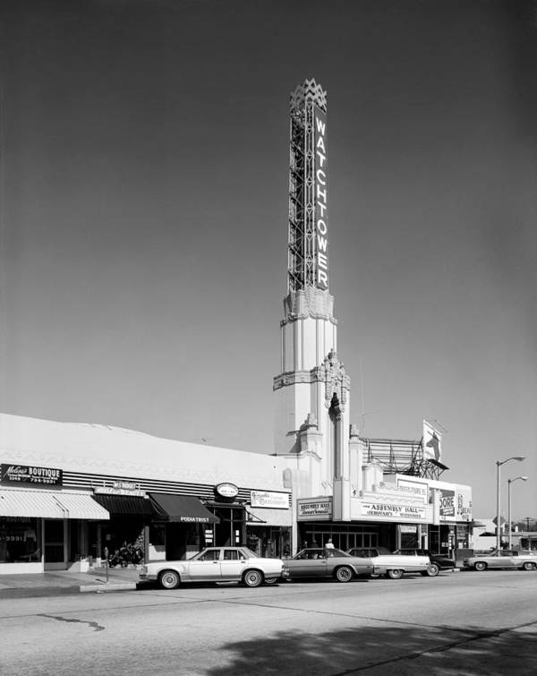 1970s Candids Art Print featuring the photograph Los Angeles, The Watchtower Theater by Everett