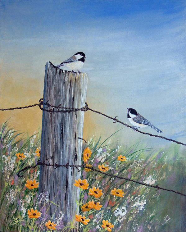 Meeting At The Old Fence Post Art Print by Dee Carpenter