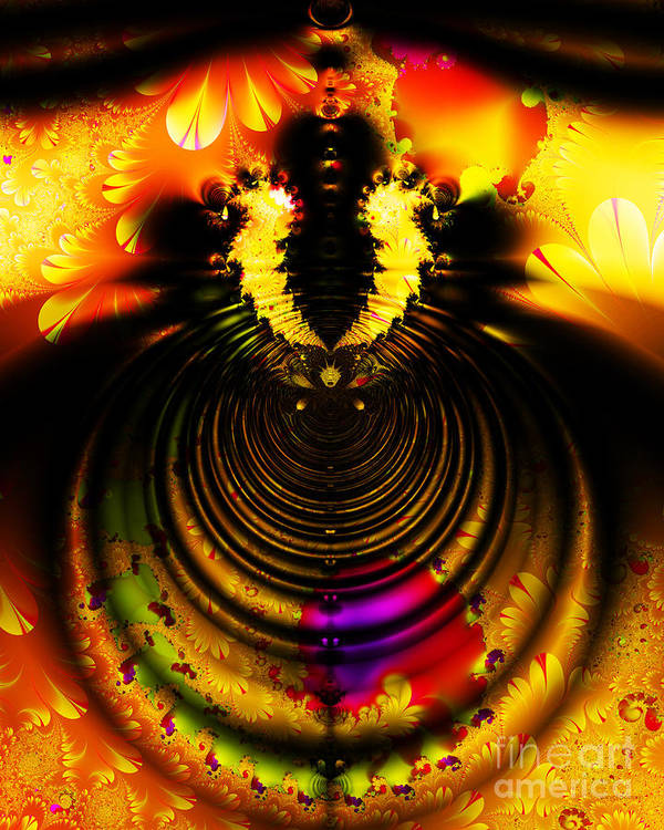 Fractal Art Print featuring the digital art Melting Pot . Gold . S8a.s11 by Wingsdomain Art and Photography