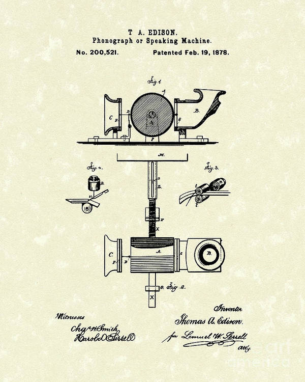 Edison Art Print featuring the drawing Phonograph 1878 Patent Art by Prior Art Design