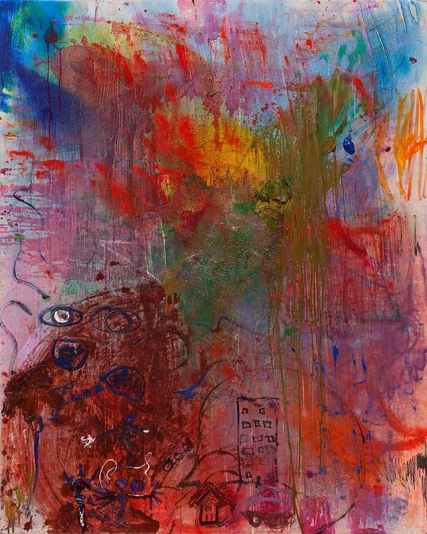 Colorful. Abstract Art Print featuring the painting Planning by Gisele Aliyah