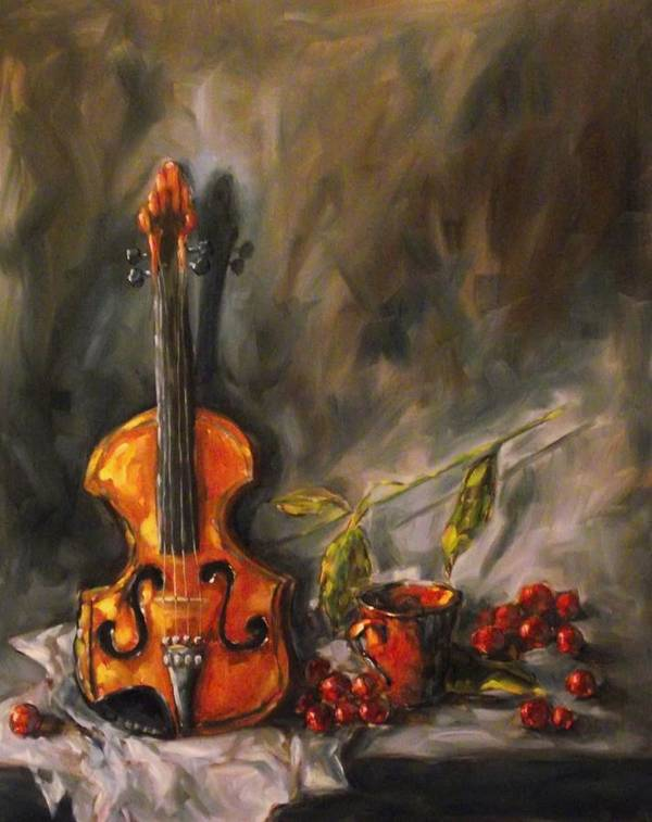 Violin Art Print featuring the painting Play Me A Love Song by Angela Sullivan