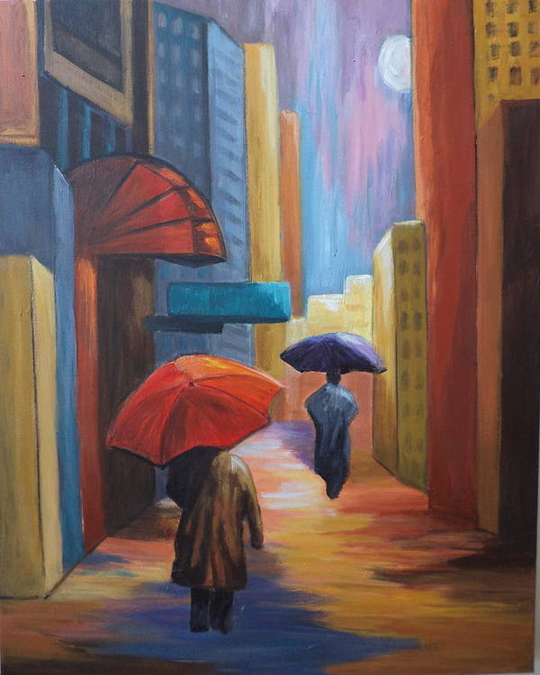 Rain Art Print featuring the painting Rainy Night by Rosie Sherman