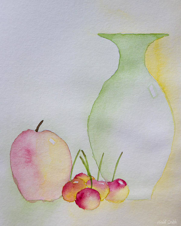 Watercolor Art Print featuring the painting Ranier Cherries And A Pink Lady by Heidi Smith