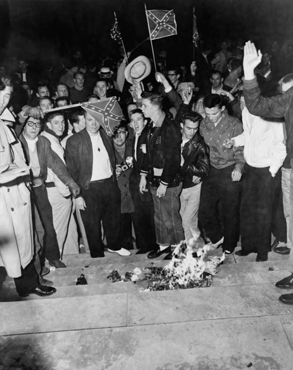 History Print featuring the photograph Segregationist Protest. White Students by Everett