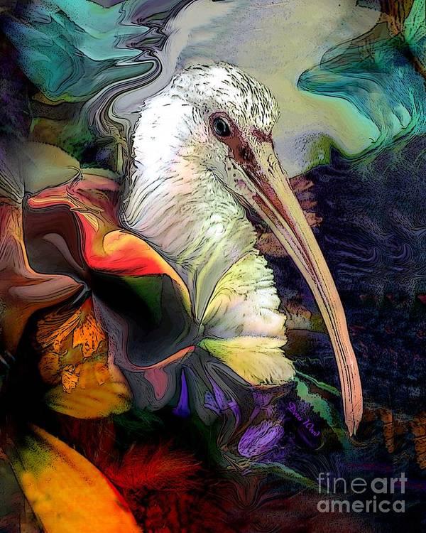 Digital Art Print featuring the digital art Sir Ibis by Doris Wood