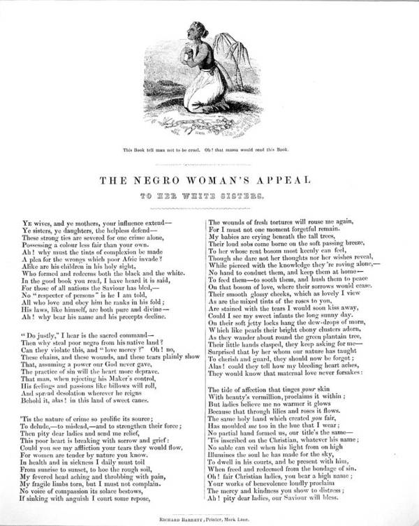 1850s Art Print featuring the photograph Slavery. An Abolitionist Poem Entitled by Everett