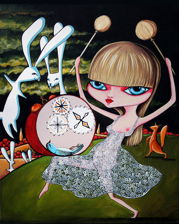 Bunnies Art Print featuring the painting Something To Bang On About by Leanne Wilkes