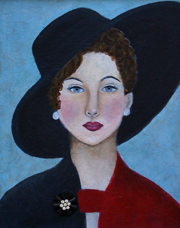 Lady In Hat Art Print featuring the painting Sophia by The Art With A Heart By Charlotte Phillips