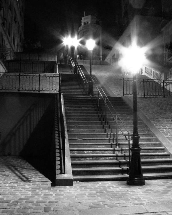 Stairway Art Print featuring the photograph Stairway To Montmartre At Night by Greg Matchick