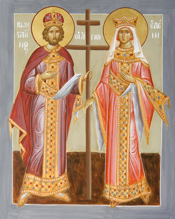 Sts Constantine And Helen Print featuring the painting Sts Constantine And Helen by Julia Bridget Hayes