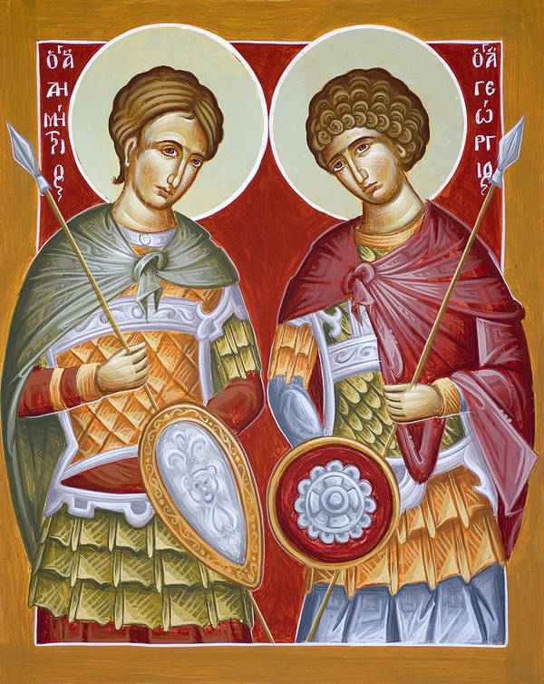 St Dimitrios Print featuring the painting Sts Dimitrios And George by Julia Bridget Hayes