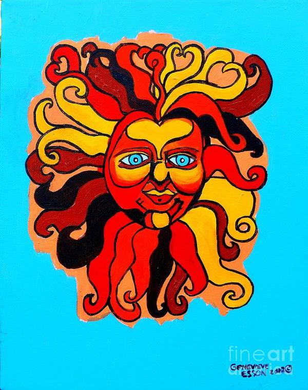 Sun Print featuring the painting Sun God II by Genevieve Esson