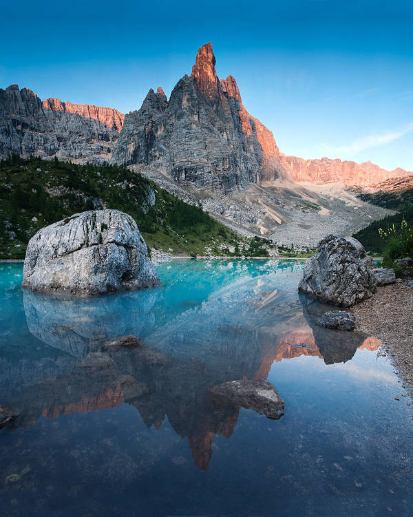 Vertical Art Print featuring the photograph Sunrise Over Peak In Dolomites by Matteo Colombo
