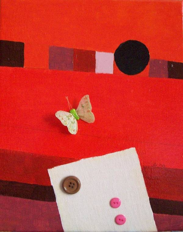 Red Art Print featuring the painting Sunset Butterfly by Davide Barbanera