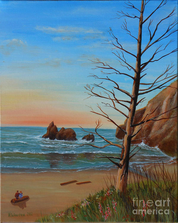 Sunset Art Print featuring the painting Sunset In Oregon by Helen Winter