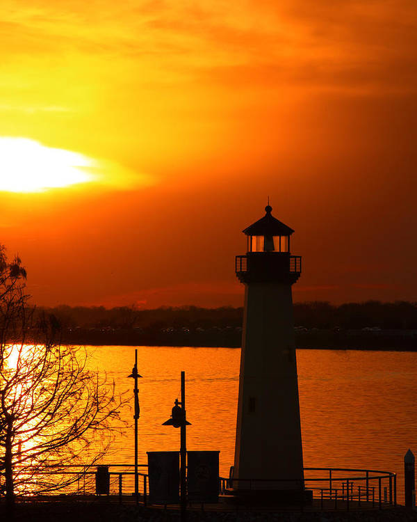Lighthouse Art Print featuring the photograph Sunset Lighthouse by M K Miller