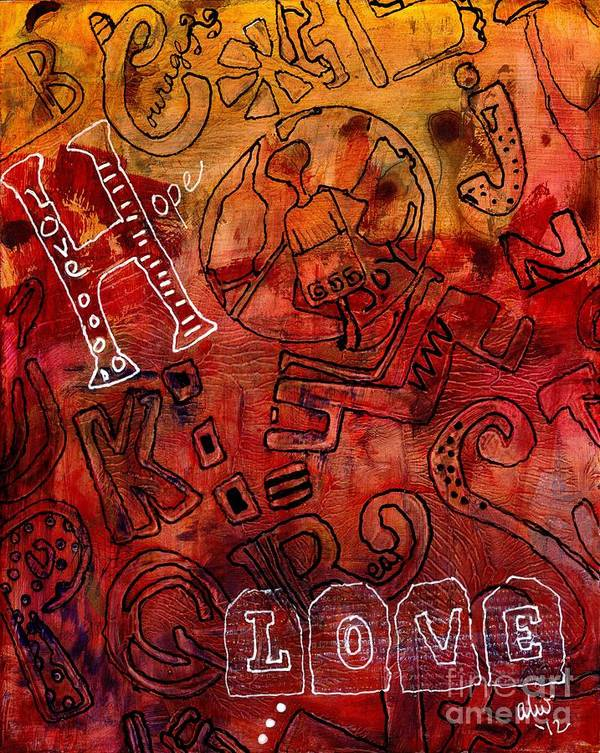 Play Art Print featuring the painting The Alpha Alpha Social Network by Angela L Walker