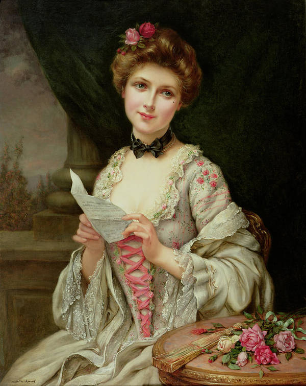 Billet Doux; Female; Seated; Sitting; Roses; Fan; Black Bow; Wistful; Pretty; Costume; Dress; Beauty; Jewellery; Jewelry; In Love; Valentine; Beauty Art Print featuring the painting The Love Letter by Francois Martin-Kayel