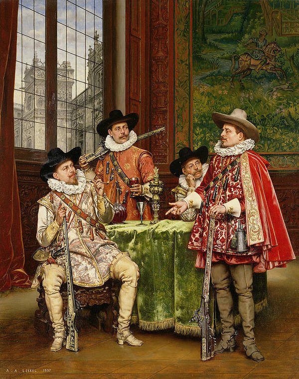 The Musketeer's Tale Art Print featuring the painting The Musketeer's Tale by Adolphe Alexandre Lesrel