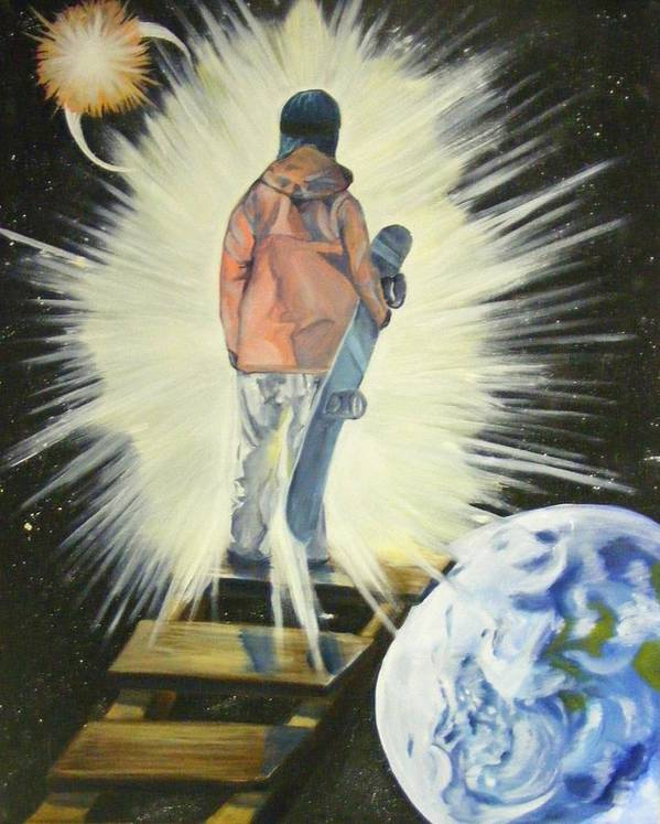 Dream Art Print featuring the painting The Snowboarder's Dream by Laura Evans