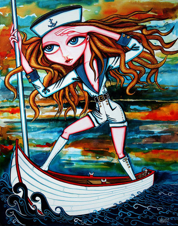 Girl Art Print featuring the painting The Voyager by Leanne Wilkes