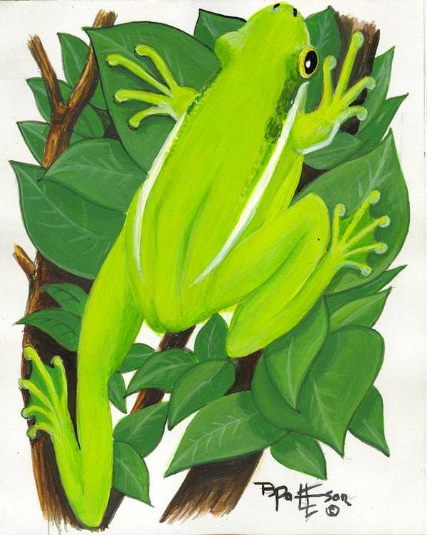 Frog Art Print featuring the painting Tree Frog At Rest by Bob Patterson