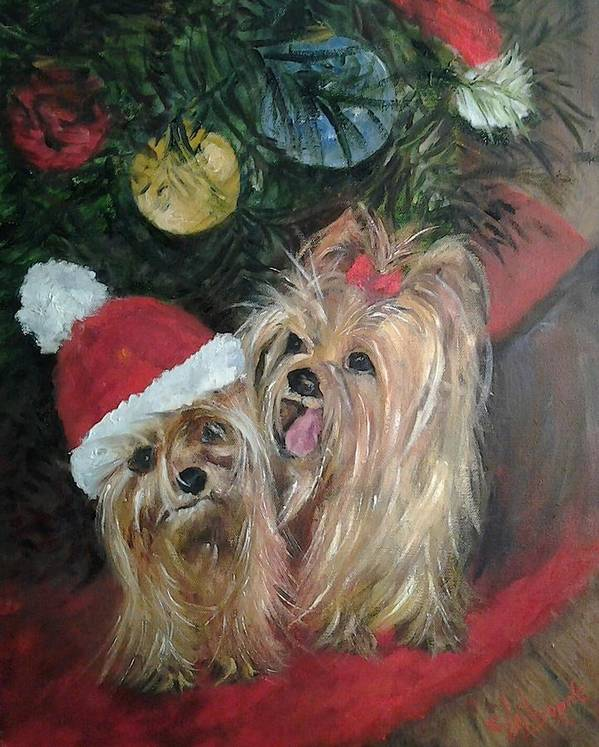 Yorkies Art Print featuring the painting Where Is My Hat by Claiborne Hemphill-Trinklein