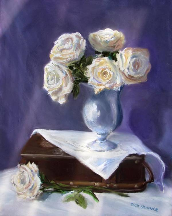 Flowers Art Print featuring the painting White Roses In A Silver Vase by Jack Skinner
